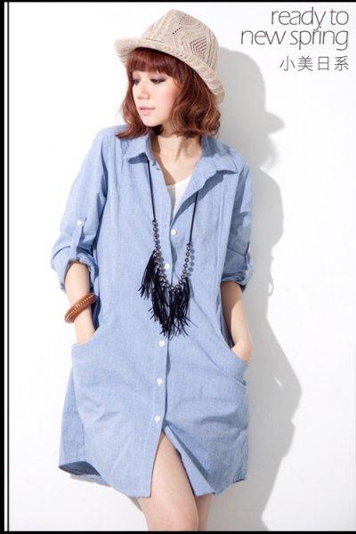 ชุดเดรสแฟชั่น ผ้ายีนส์นิ่ม ๆ ขนาดฟรีไซส์ สีฟ้าอ่อน