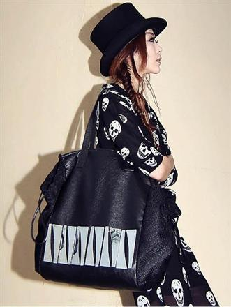 กระเป๋าแฟชั่น กระเป๋าสะพายข้างหนังPU ใบใหญ่สีดำเก๋ๆ